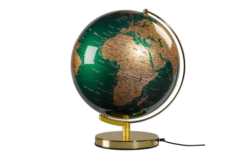 GLOBE LIGHT 12, FIR GREEN & BRASS zielony globus duży mosiężny 4